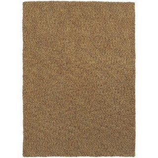 Cozy Indulgence Heathered Gold Shag Area Rug (6'6 x 9'6)