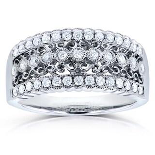 Annello by Kobelli 14k White Gold 2/5ct TDW Diamond Fashion Antique Milgrain Ring