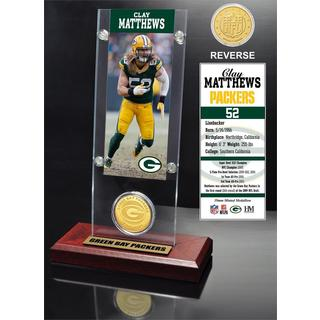 Clay Matthews Ticket & Bronze Coin Acrylic Desk Top