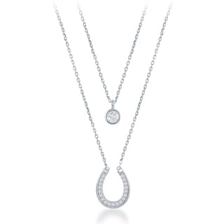 La Preciosa Sterling Silver Double Strand Cubic Zirconia Circle and Horseshoe Necklace