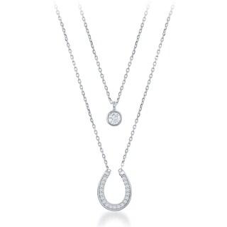 La Preciosa Sterling Silver Double Strand Cubic Zirconia Circle and Horseshoe Necklace