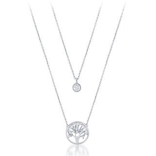 La Preciosa Sterling Silver Double Strand Cubic Zirconia Circle and Tree of Life Necklace