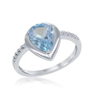 La Preciosa Sterling Silver Pear-cut Gemstone Ring