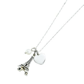 Rhodium-plated Sterling Silver 3-charm Paris Theme Necklace