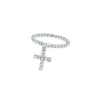 Rhodium-plated Sterling Silver Rope Design Band Ring with Dangling Cubic Zirconia Cross