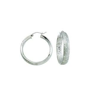 14k White Gold Satin and Diamond-cut Twinkle Hoop Earrings