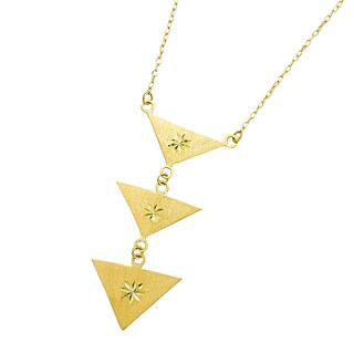14k Yellow Gold Triple Satin Geometric Triangle Adjustable Necklace
