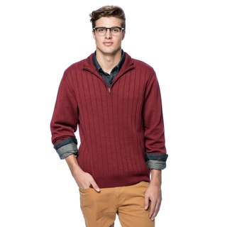 Men's Merino Quarter Zip Ribbed Sweater