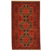 Herat Oriental Afghan Hand-knotted Tribal Balouchi Wool Rug (2'9 x 4'6) - 2'9 x 4'6