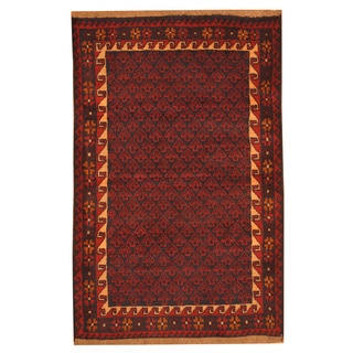 Herat Oriental Afghan Hand-knotted Tribal Balouchi Navy/ Red Wool Rug (3' x 4'6)