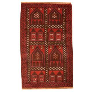 Handmade Herat Oriental Afghan Tribal Balouchi Wool Rug (Afghanistan) - 3' x 4'8