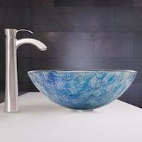 VIGO Oceania Glass Vessel Sink and Otis Faucet set in Brushed Nickel