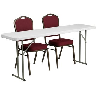 18-inch x 72-inch Plastic Folding Training Table with 2 Crown Back Stack Chairs