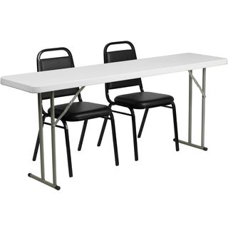 18-inch x 72-inch Plastic Folding Training Table with 2 Trapezoidal Back Stack Chairs