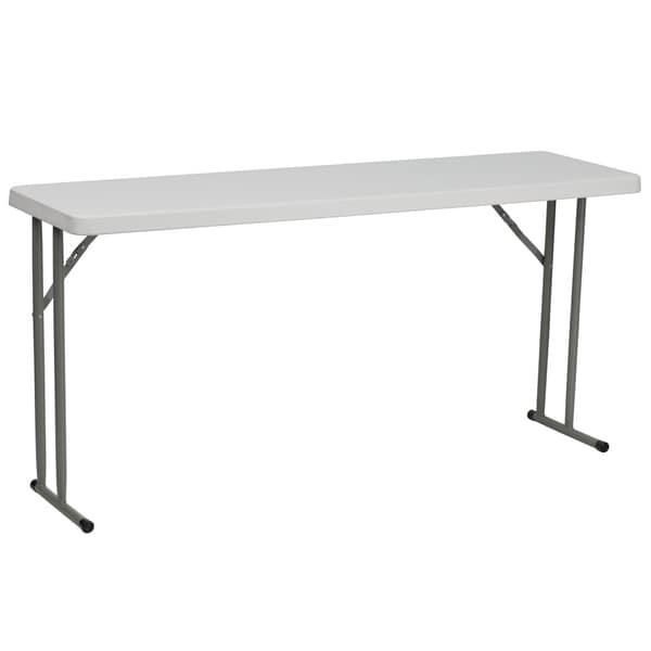 18-inch x 60-inch Granite White Plastic Folding Training Table