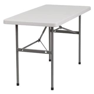 24-inch x 48-inch Granite White Plastic Folding Table