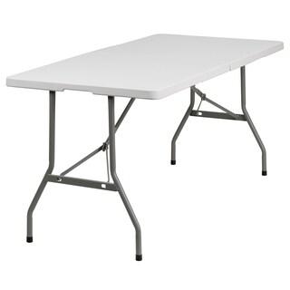 30-inch x 60-inch Bi-fold Granite White Plastic Folding Table