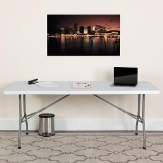 30-inch x 72-inch Granite White Plastic Folding Table
