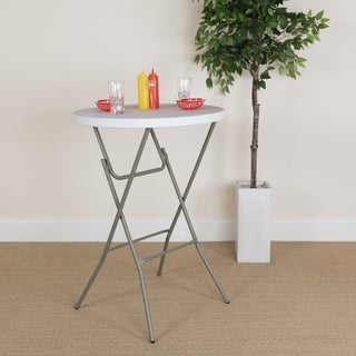 3-Foot Round Granite White Plastic Bar Height Folding Event Table