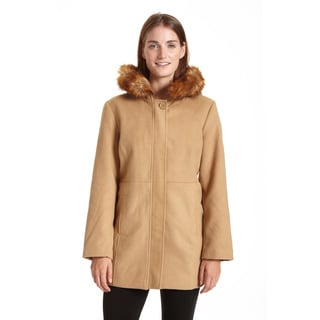Excelled Women's Faux Wool Asymmetrical Zip with Belt Coat