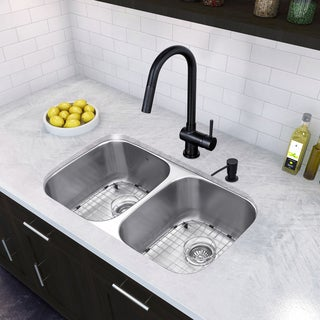 VIGO All-In-One 32 Rumford Stainless Steel Double Bowl Undermount Kitchen Sink Set With Gramercy Faucet In Matte Black