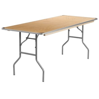 30-inch x 72-inch Rectangular Heavy Duty Birchwood Folding Banquet Table with Metal Edges and Protective Corner Guards