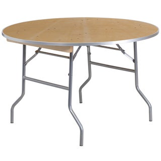 48-inch Round Heavy Duty Birchwood Folding Banquet Table with Metal Edges