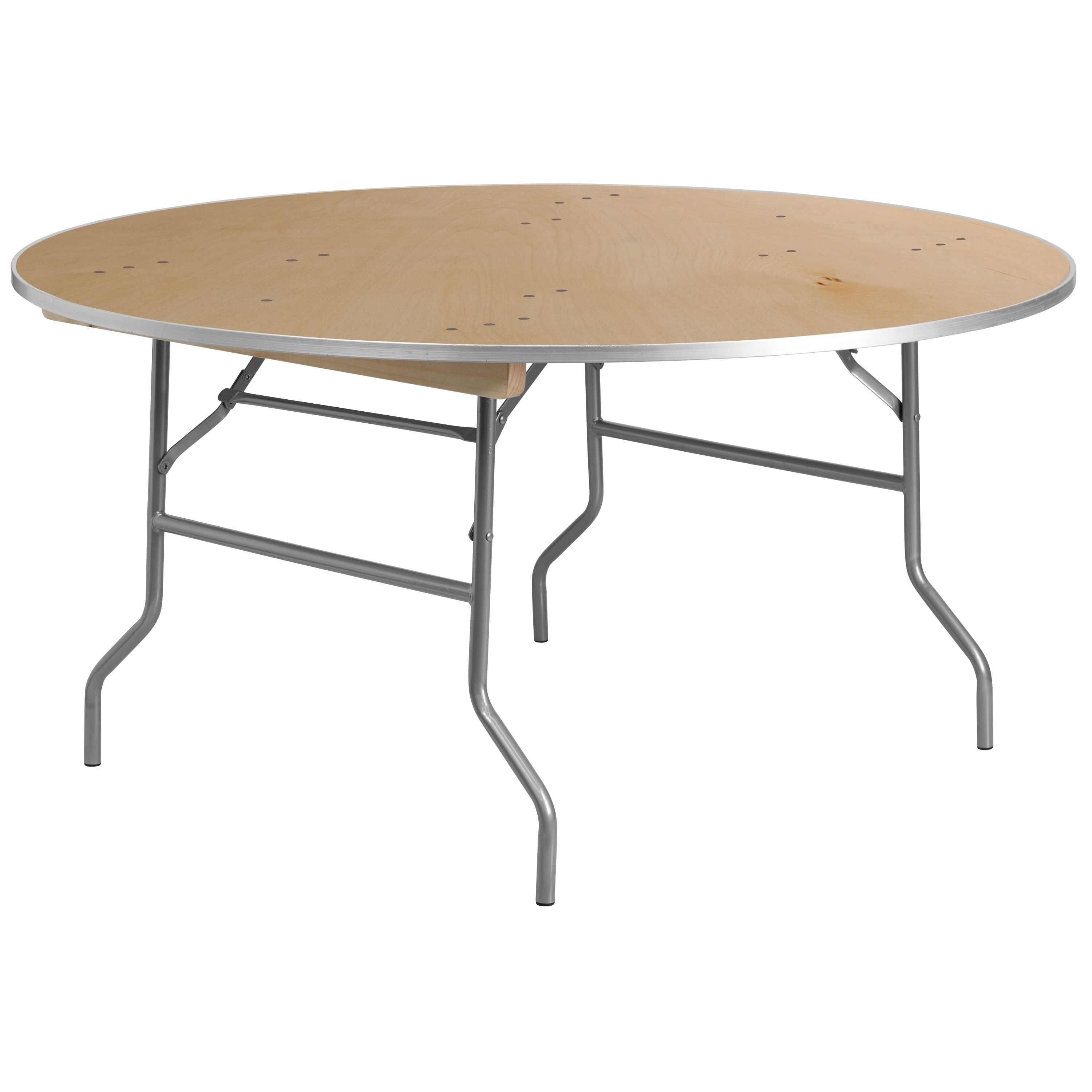 - 60-inch Round Heavy Duty Birchwood Folding Banquet Table Natural