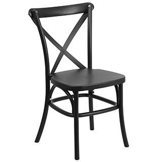 Hercules Series Resin Indoor-outdoor Cross Back Chair with Steel Inner Leg