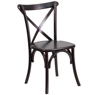 Hercules Series Walnut Wood Cross Back Chair