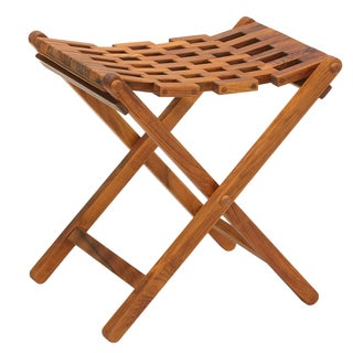Link to Bare Decor Mosaic Folding Stool in Solid Teak Wood Similar Items in Shower Stools