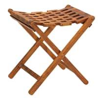Bare Decor Mosaic Folding Stool in Solid Teak Wood