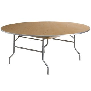 "72-inch Round Heavy Duty Birchwood Folding Banquet Table with Metal Edges - 72""W x 72""D x 30""H"