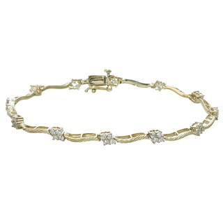 14k Yellow Gold 1 1/5ct TDW Diamond Link Bracelet (I-J, I2-I3)
