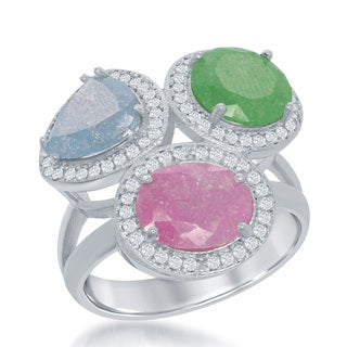 La Preciosa Sterling Silver Pink Green and Blue Ice Cubic Zirconia Cocktail Ring