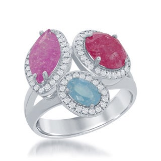 La Preciosa Sterling Silver Dark Pink Light Pink and Blue Ice Cubic Zirconia Cocktail Ring