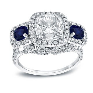 Auriya 18k White Gold 1ct Blue Sapphire and 4ct TDW Cushion-Cut Diamond Engagement Ring
