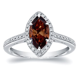Auriya 18k White Gold 1 1/3ct TDW Marquise Halo Brown Diamond Ring