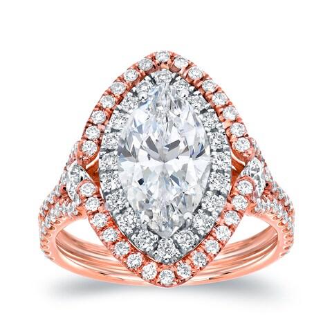 Auriya 18k Two-Tone Rose Gold 3 1/8ct TDW Marquise Halo Diamond Engagement Ring