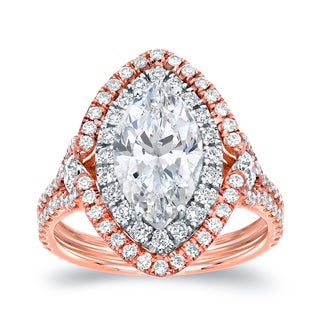 Auriya 18k Two-Tone Rose Gold 3 1/8ct TDW Marquise Halo Diamond Engagement Ring