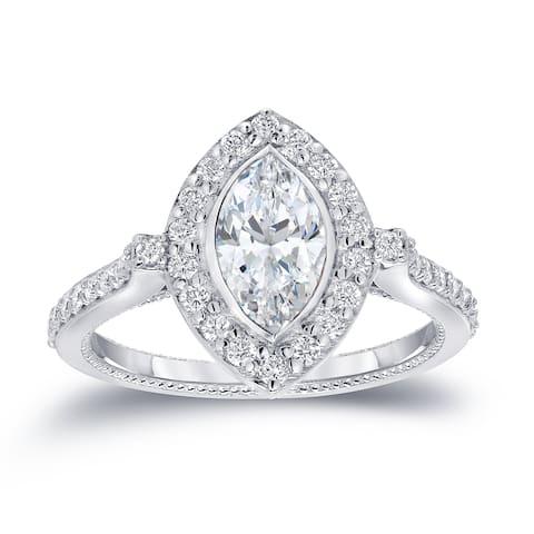 Auriya 18k Gold 1 1/2ctw Vintage Halo Marquise Diamond Engagement Ring