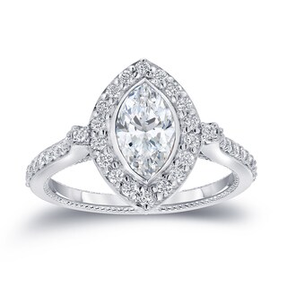 Auriya 18k White Gold 1 1/2ct TDW Vintage Inspired Marquise Halo Diamond Engagement Ring