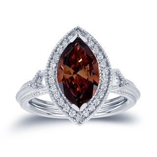 Auriya 18k White Gold 2ct TDW Marquise Brown Diamond Halo Ring