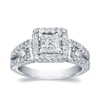 Auriya 1 2/5ctw Split-Shank Princess Cut Halo Diamond Engagement Ring 14k Gold