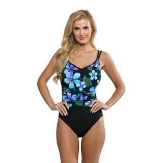 Miraclesuit Women's Purple Floral Bethany Swimsuit