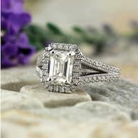 Auriya 18k White Gold 2 1/2ct TDW Vintage Emerald-Cut Halo Diamond Engagement Ring