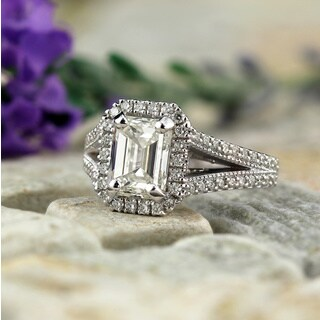 Auriya 18k White Gold 2 1/2ct TDW Vintage Emerald-Cut Diamond Halo Engagement Ring - White H-I