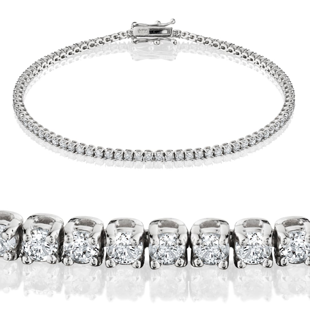 Fine Jewelry Popular Brand 11 Ctw E Vs1 Genuine Diamonds Round Brilliant Cut Tennis Bracelet 14k White Gold
