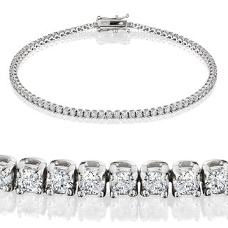 Eco-Friendly 14k White Gold 2ct TDW Lab-Grown Diamond Tennis Bracelet