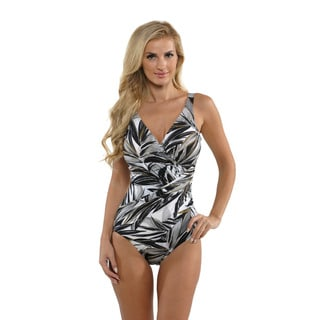 Miraclesuit Women's Black Tropical Print Oceanus Swimsuit